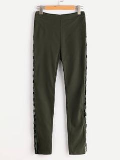 Lace Up Side Zip Back Skinny Pants