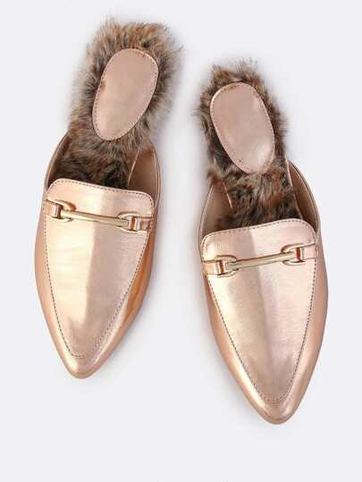 Backless Metallic Fur Slip Ons ROSE GOLD