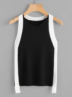 Contrast Panel Rib Knit Tank Top