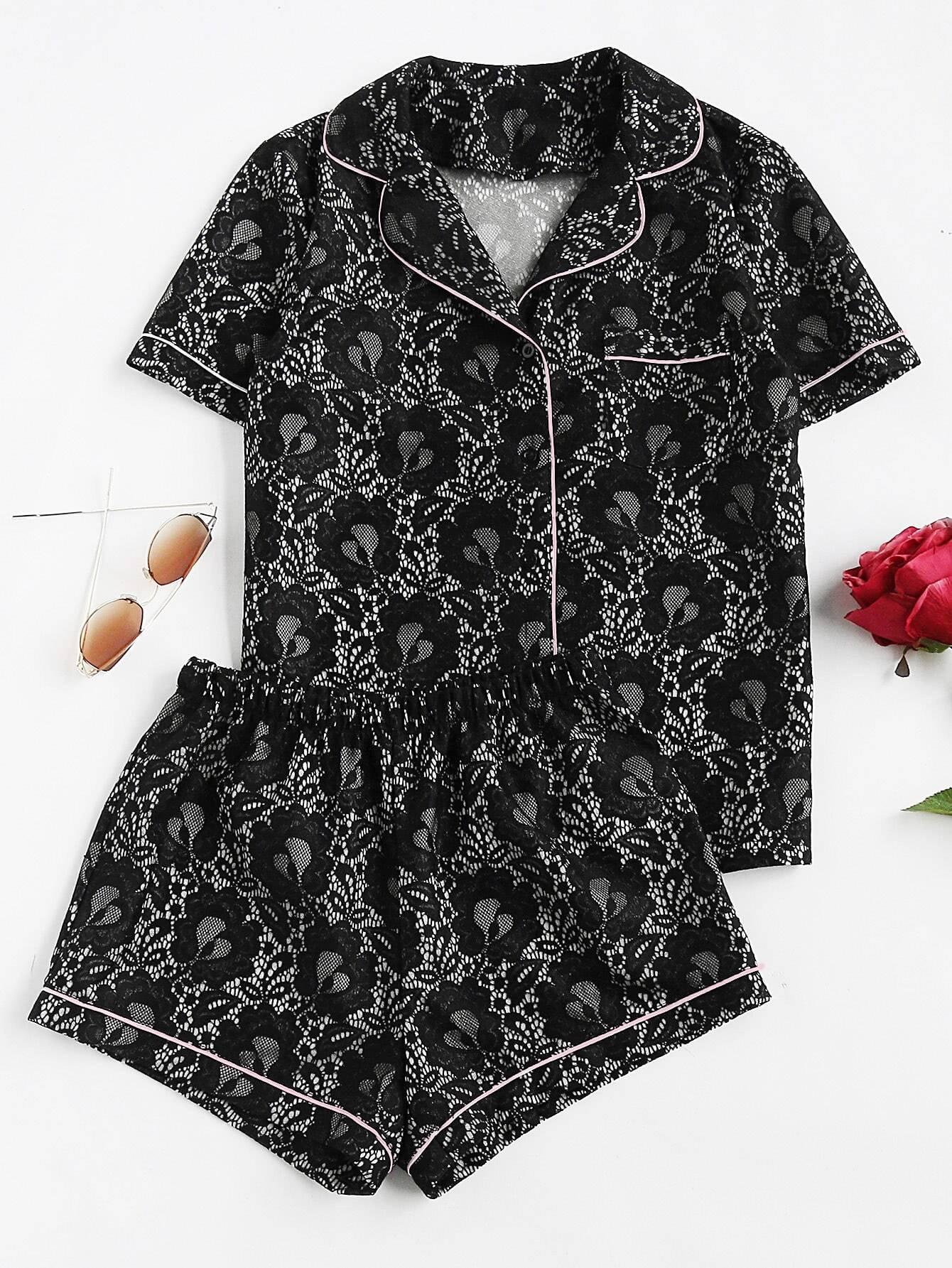 Фото Contrast Piping Lace Shirt & Shorts Pajama Set. Купить с доставкой