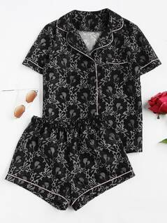 Contrast Piping Lace Shirt & Shorts Pajama Set