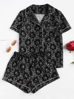 Contrast Piping Lace Shirt & Shorts Pajama Set