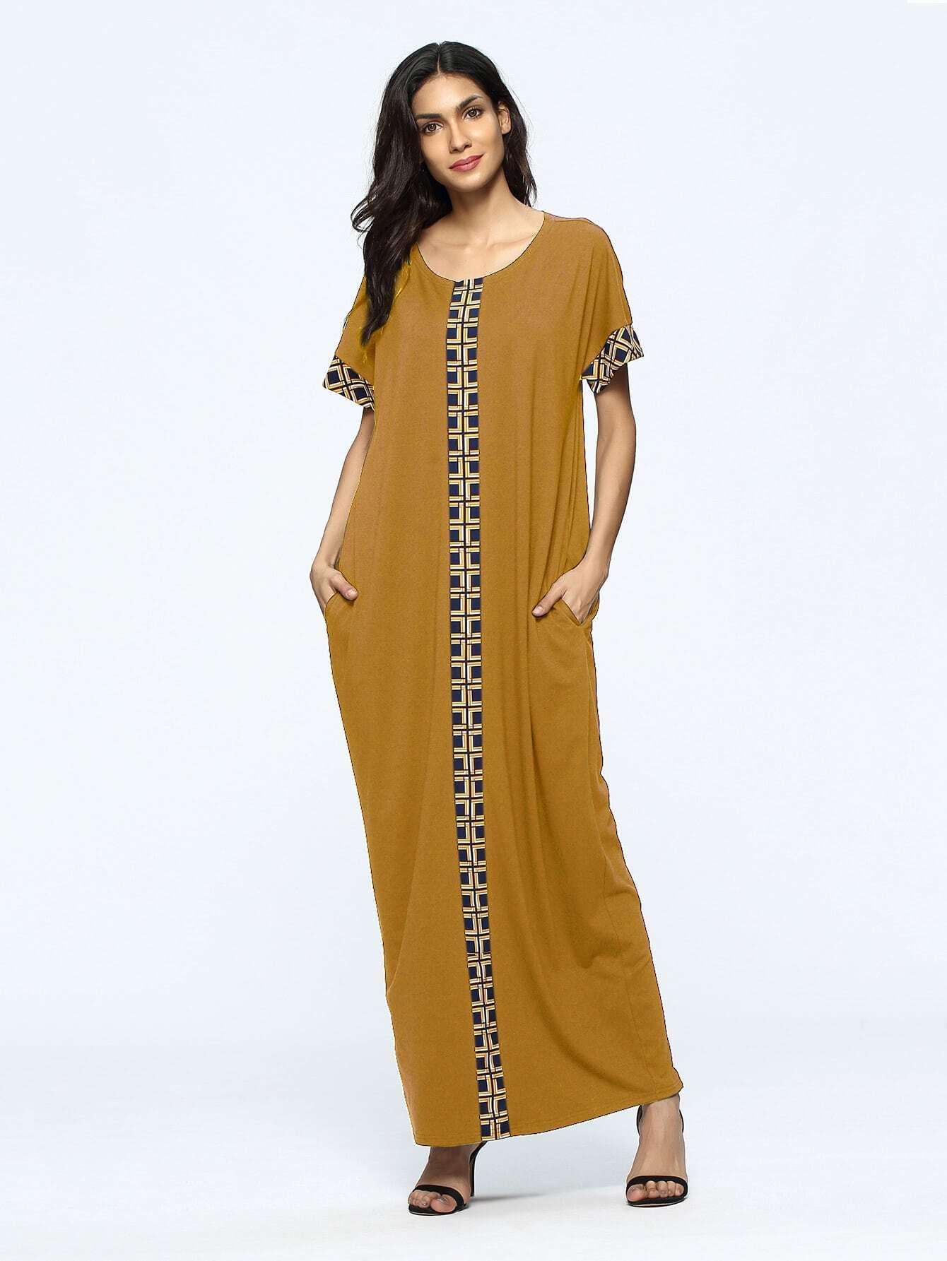 Фото Contrast Geo Panel Full Length Kaftan Dress. Купить с доставкой