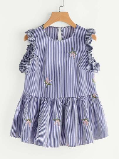 Buttoned Closure Back Frill Trim Embroidered Peplum Top