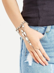 Rhinestone Design Connecting Toe Ring Bracelet