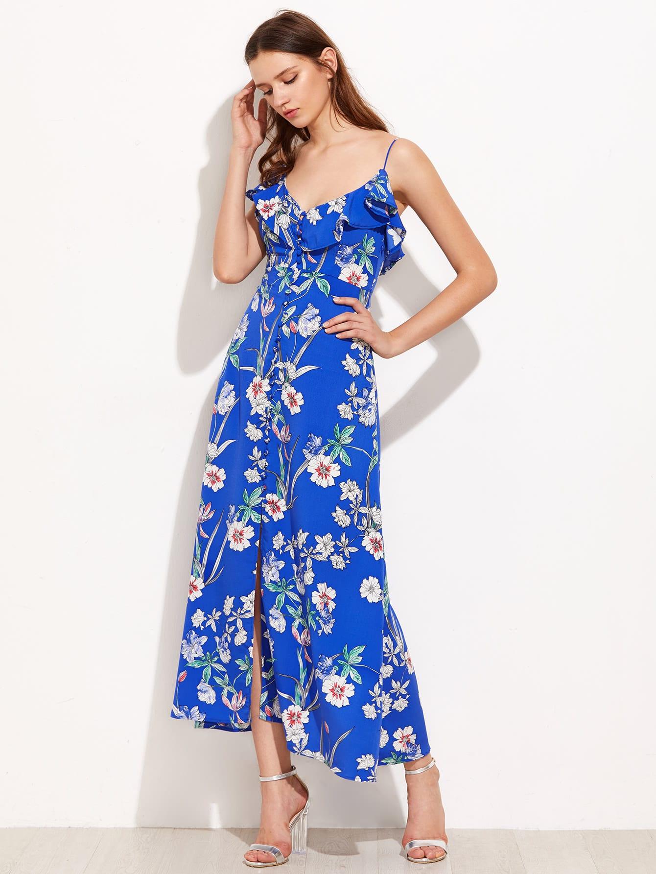 Flounce Trim Button Up Botanical Cami Dress пылесборник для сухой уборки topperr er 2