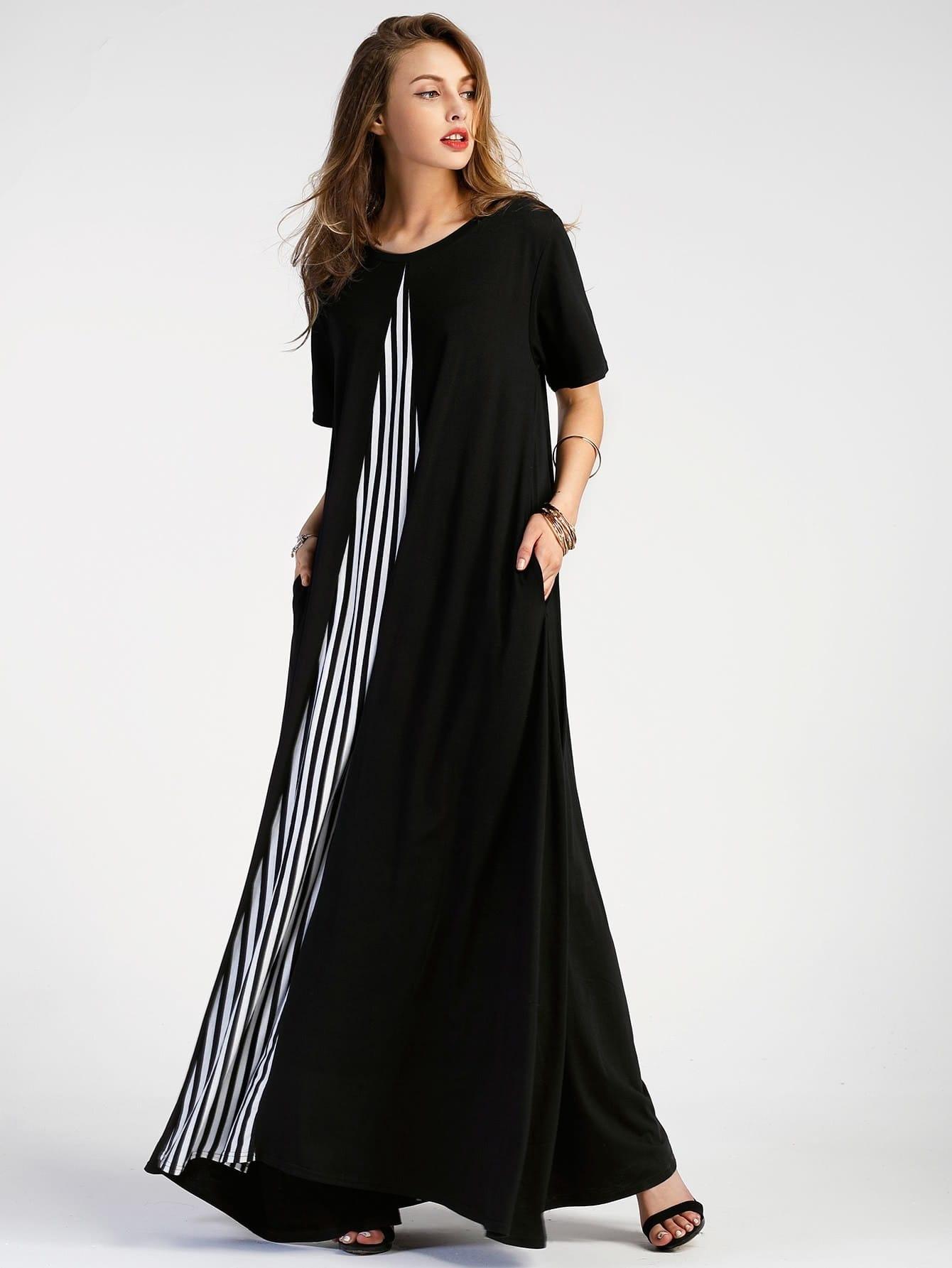 Фото Contrast Striped Panel Full Length Dress. Купить с доставкой