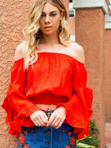 Split Trumpet Sleeve Shirred Hem Crop Bardot Top