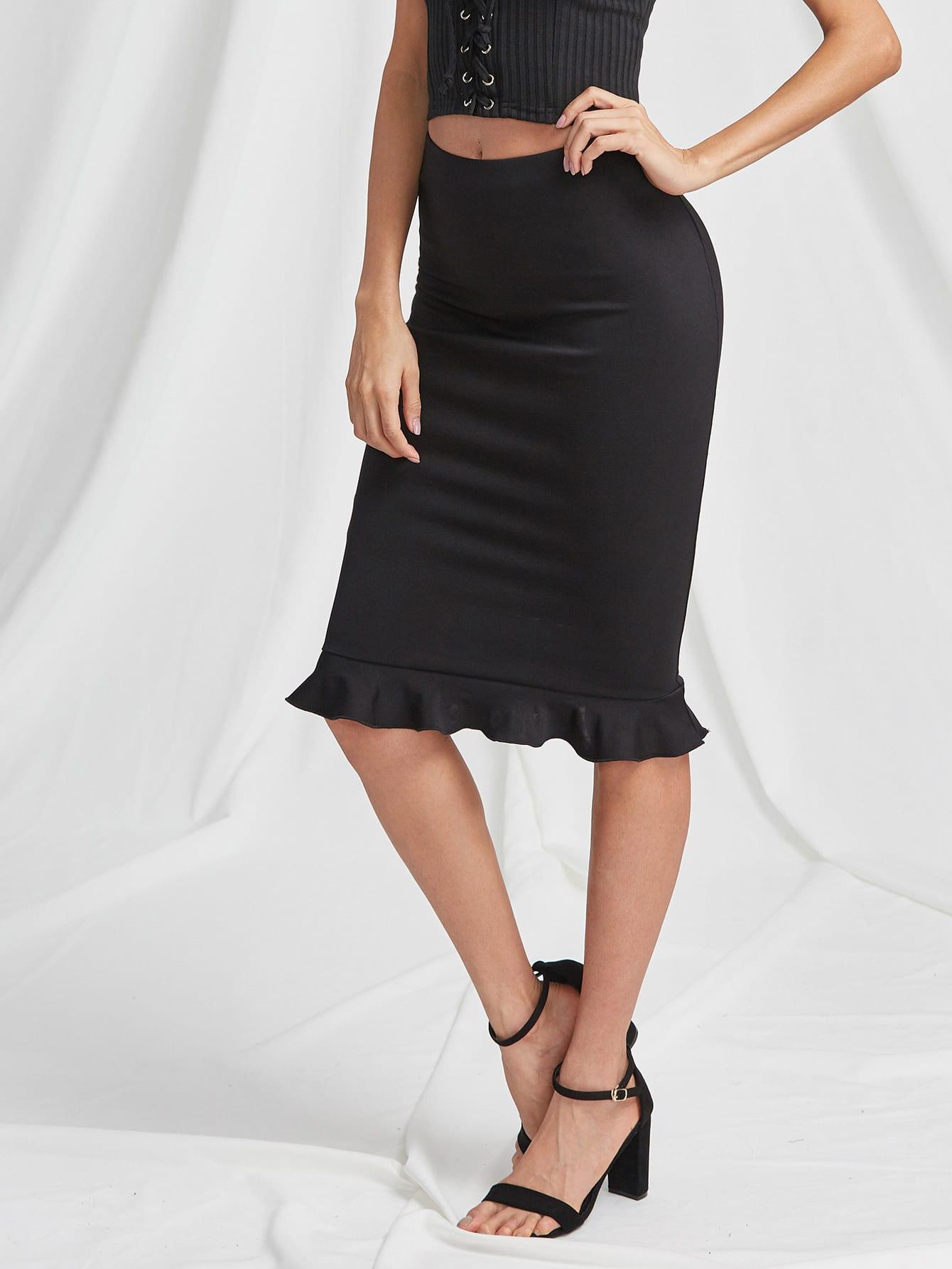 Фото Elastic Waist Ruffle Hem Pencil Skirt. Купить с доставкой