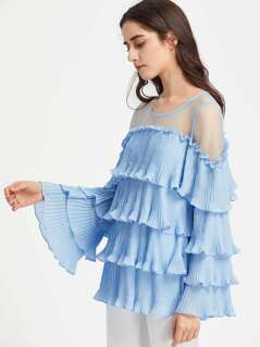 Illusion Neck Trumpet Sleeve Pleated Tiered Top