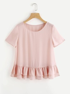 Vented Layered Ruffle Hem Top