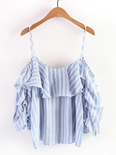 Cold Shoulder Vertical Striped Tiered Top