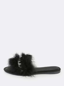 Fuzzy Luxe Jewel Slip Ons BLACK