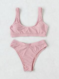 Scoop Neck High Leg Bikini Set