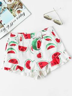 Allover Watermelon Print Frill Hem Shorts