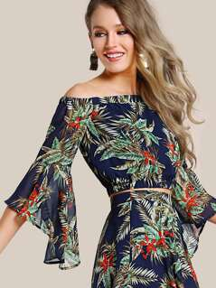 Tropical Print Trumpet Sleeve Bardot Top