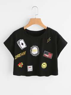 Crop T-shirt With Lovely Embroidered Patch