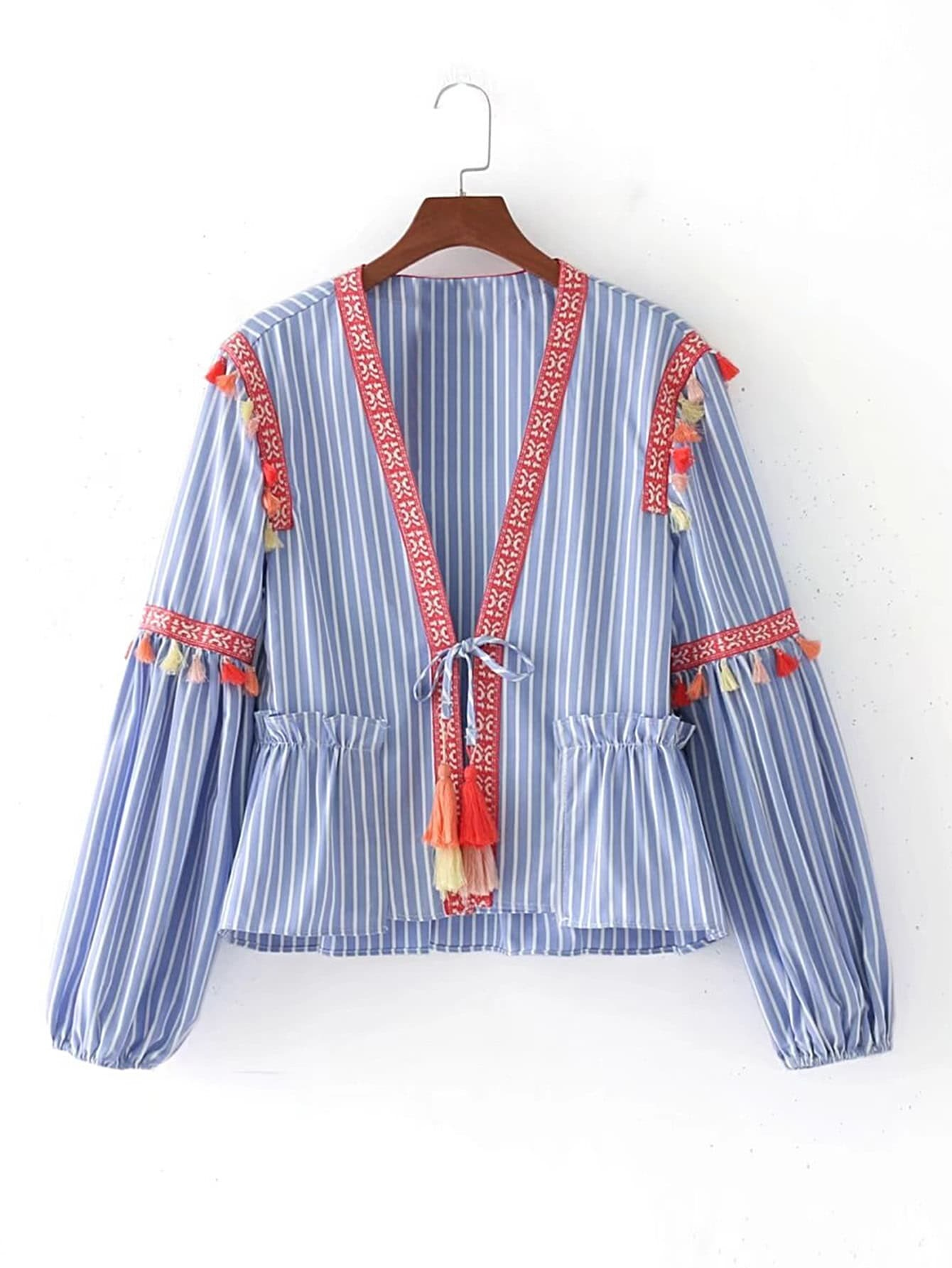 Фото Embroidery Tape Tie Detail Blouse With Fringe. Купить с доставкой