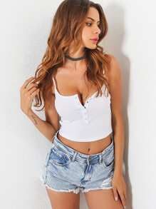 Button Front Crop Cami Top