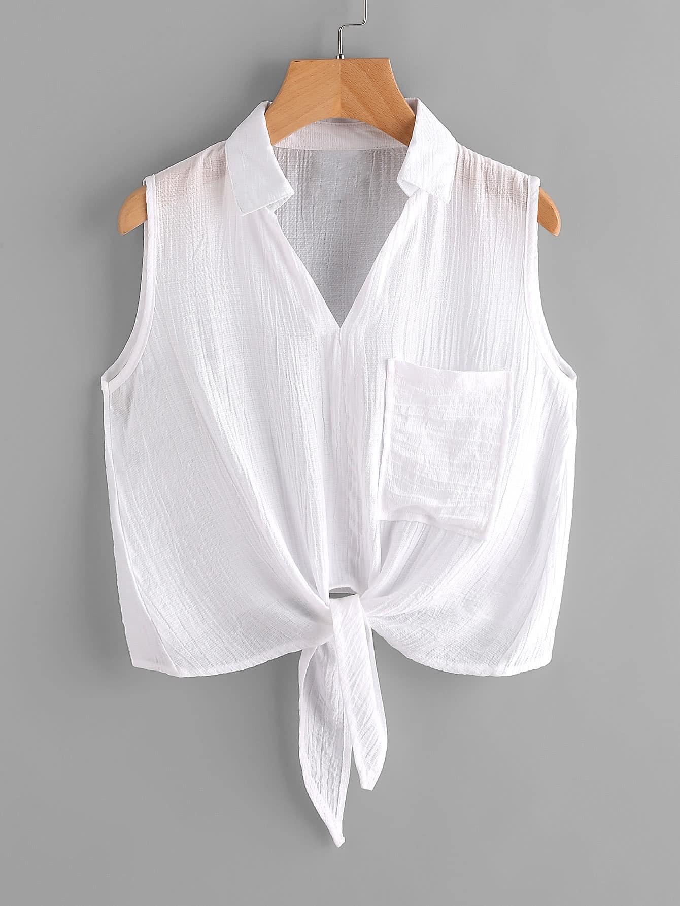 Фото Knot Front Pleated Top With Chest Pocket. Купить с доставкой