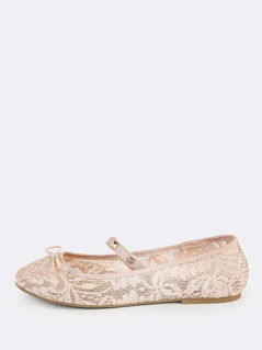 Studded Lace Ballet Flats BLUSH
