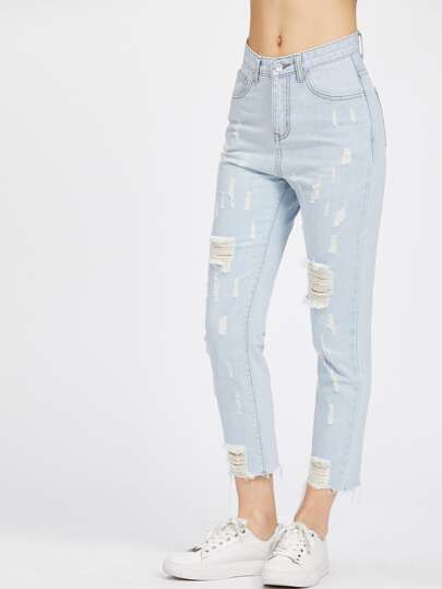 Light Wash Raw Hem Crop Distressed Jeans