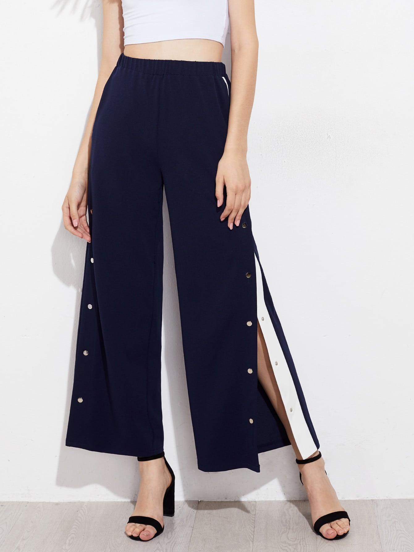 Snap Button Contrast Panel Side Pants contrast panel side pleated harem pants