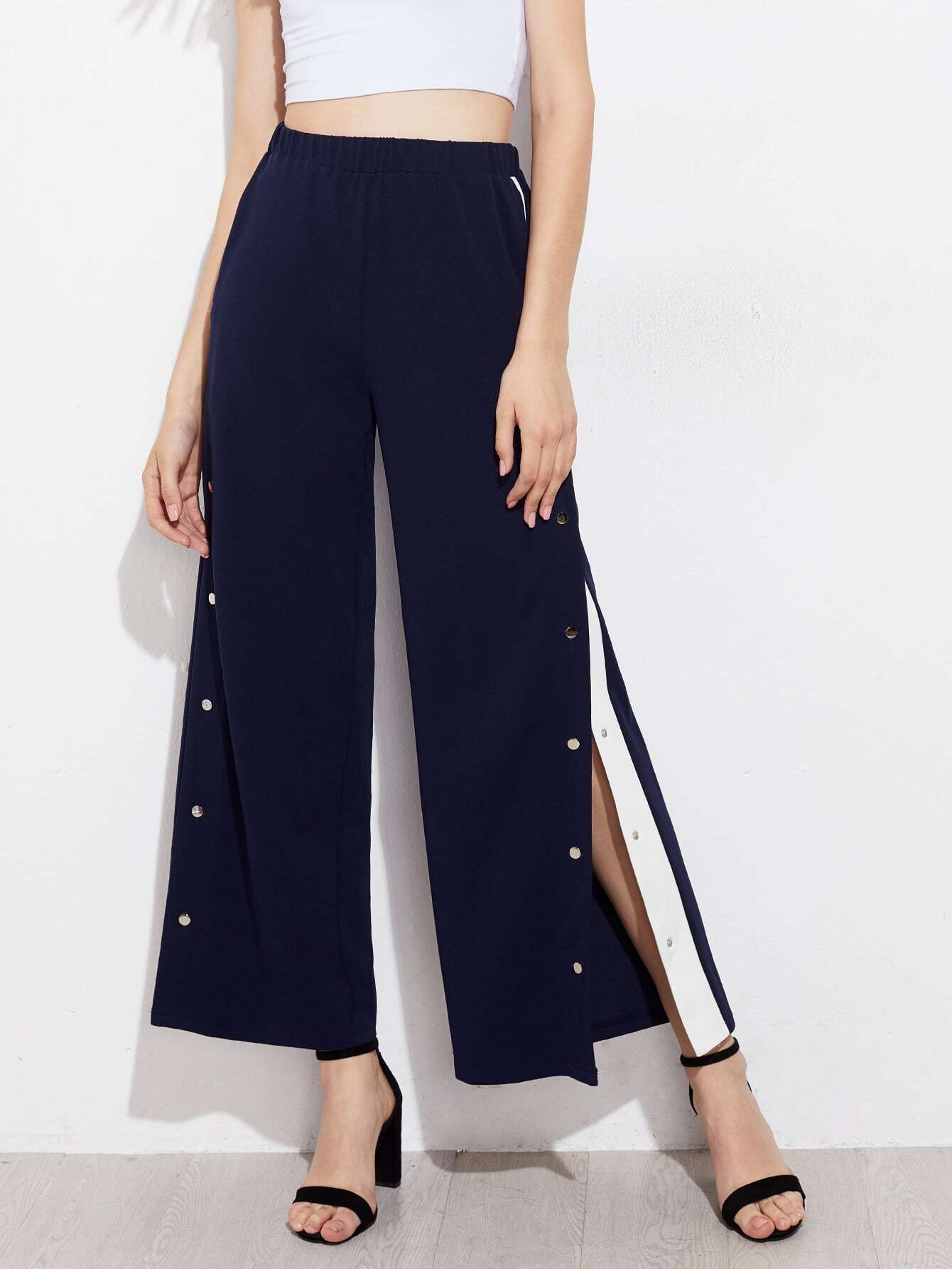 Image of Snap Button Contrast Panel Side Pants