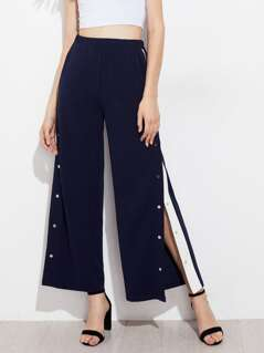 Snap Button Contrast Panel Side Pants