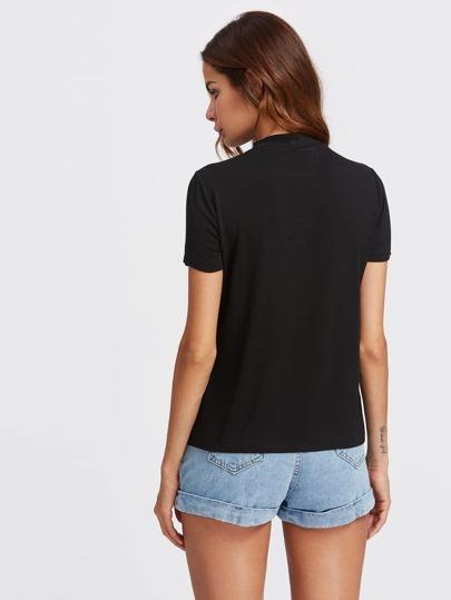 Romwe / Ladder Strap Choker Neck T-shirt