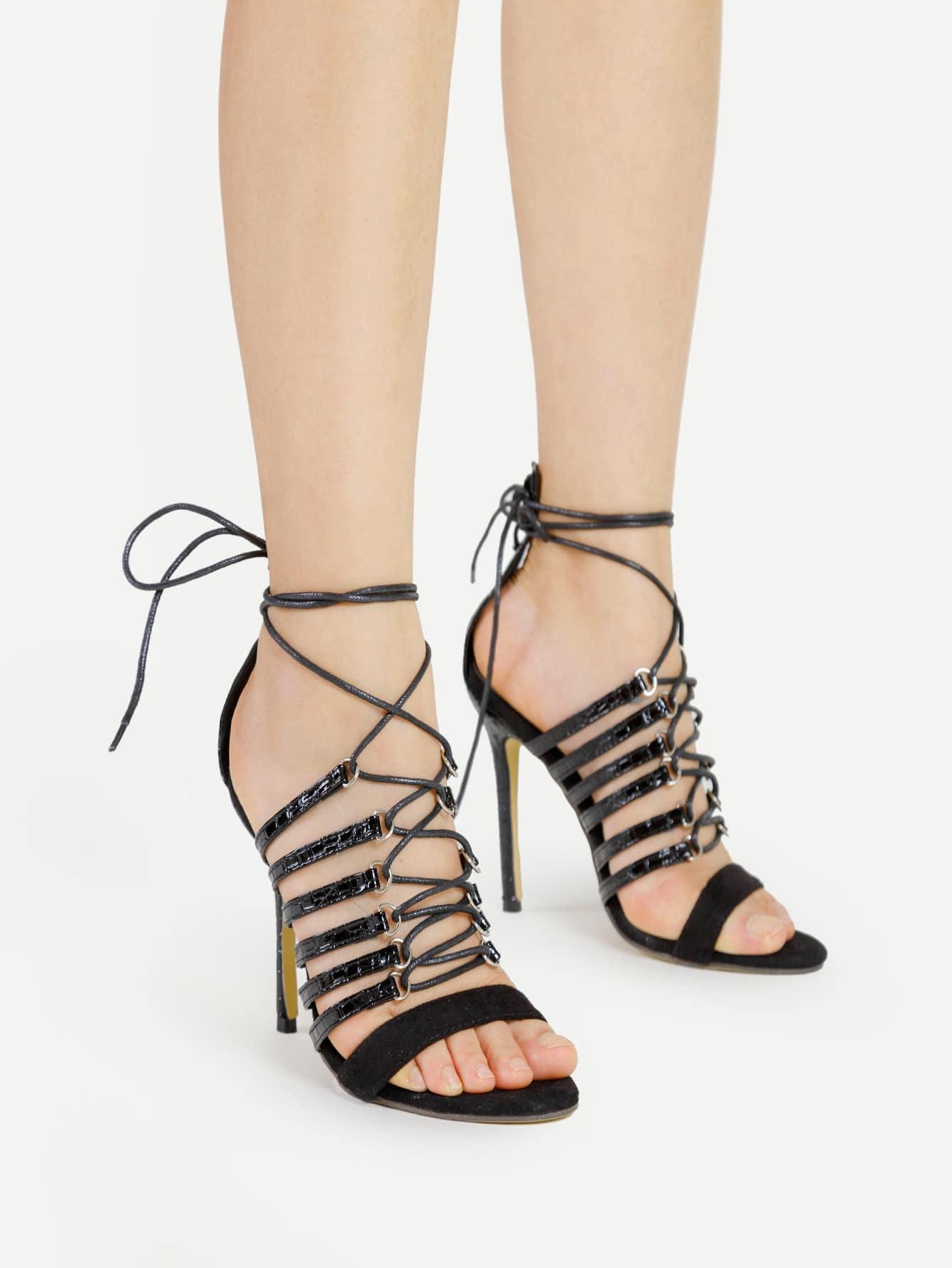 Фото Criss Cross Tie Up PU Stiletto Sandals. Купить с доставкой