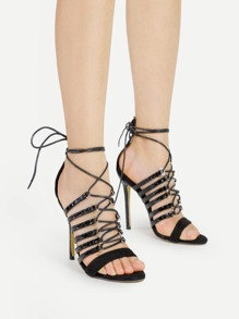 Criss Cross Tie Up PU Stiletto Sandales