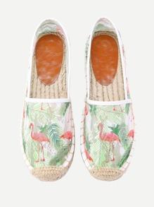 Flamingo Print Cap Toe Espadrille Flats
