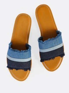 Denim Band Slip On Sandals BLUE DENIM