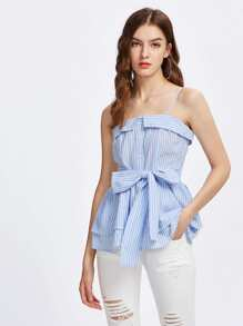 Foldover Tie Front Layered Cami Top