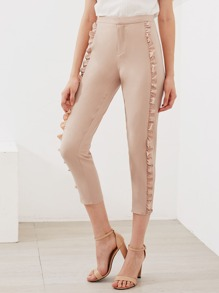 Ruffle Trim Cropped Tailored Pants