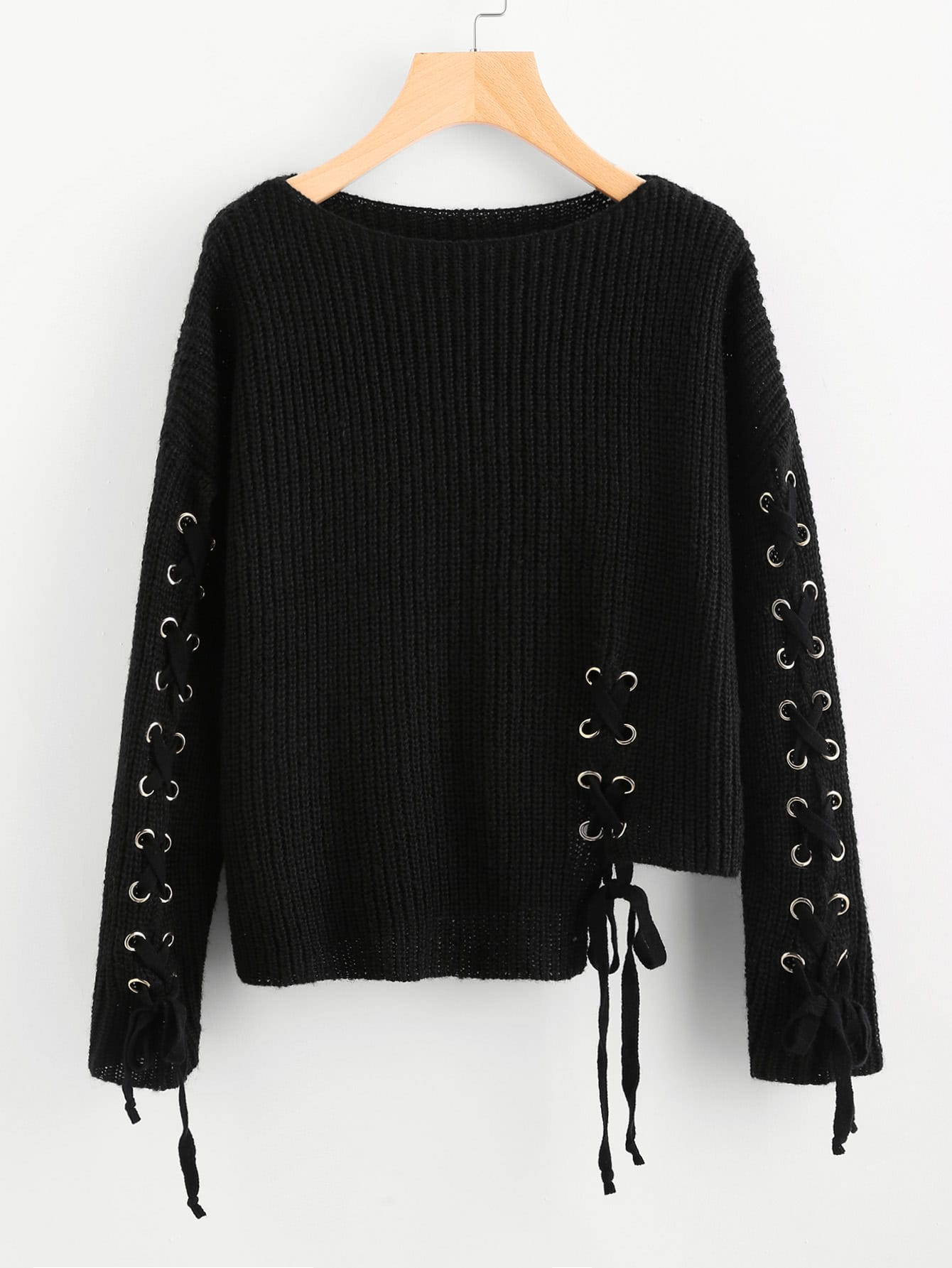 Eyelet Lace Up Staggered Jumper корпус supermicro cse 825tq 563lpb