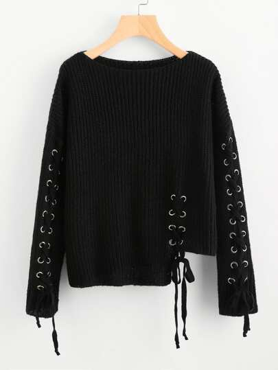 Eyelet Lace Up Staggered Jumper