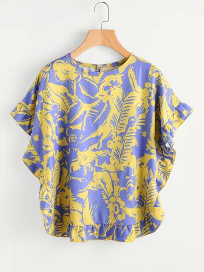 Frill Trim Abstract Print Top