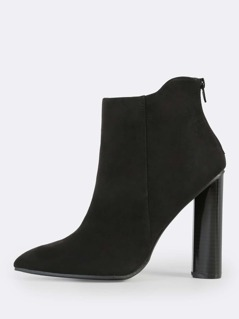 Suede Point Toe Booties BLACK