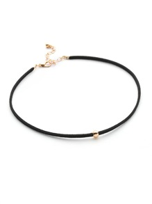 Metal Ball Embellished Velvet Choker