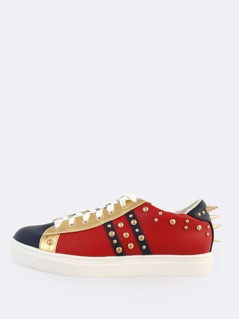 Faux Leather Colorblock Spike Sneakers RED