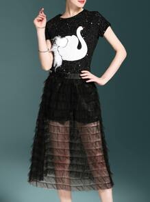 Swan Top With Layered Sheer Skirt