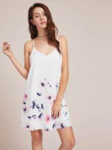 Flower Print Crisscross V Back Cami Dress