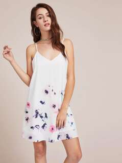 Flower Print Crisscross V Back Cami Dress