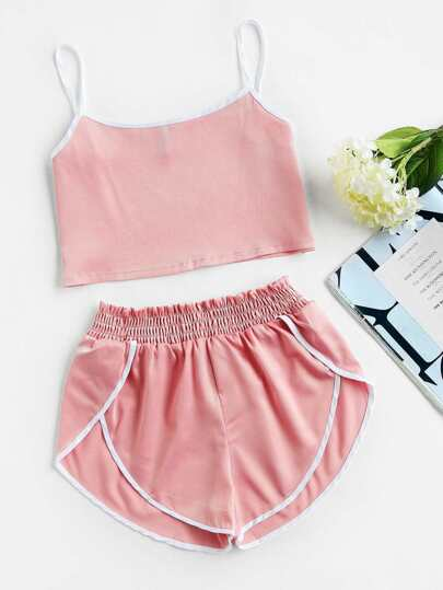 Satin Contrast Trim Crop Cami Top With Shorts