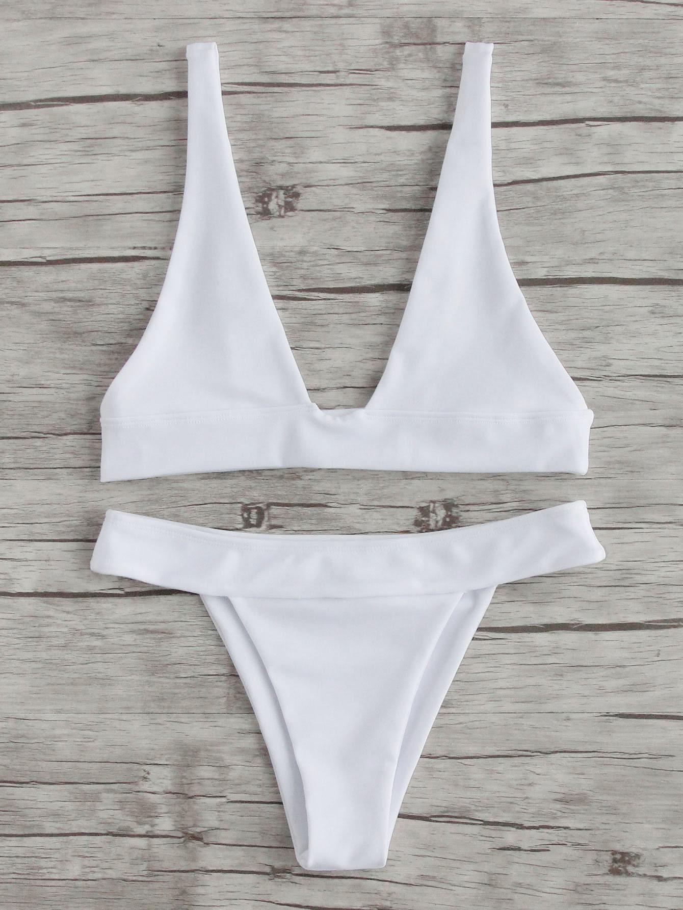 Plunge Neckline Beach Bikini Set plunge neckline open back bikini set