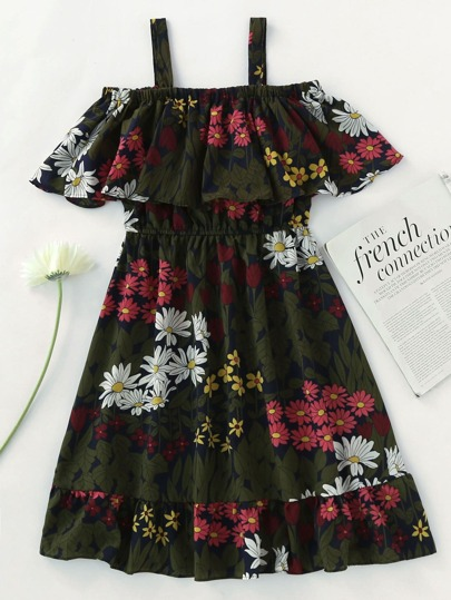 Floral Print Random Frill Hem Layered Dress