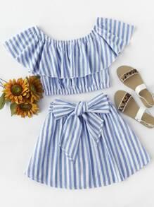 Flounce Bardot Top And Bow Front Skirt Set