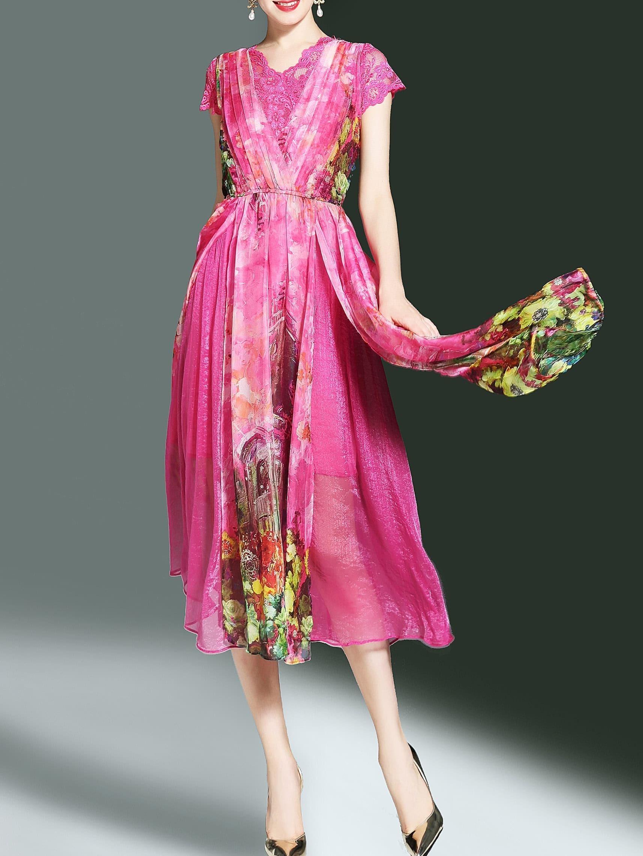 Фото Contrast Lace Flowers Print Split Dress. Купить с доставкой